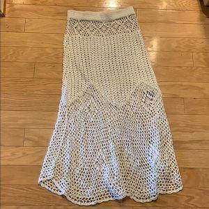 White UNIF crochet skirt
